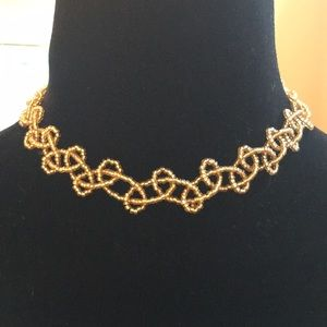 Woven seed bead choker gold beads 11-14 inches